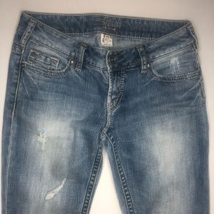 Silver Pioneer Boot Cut Distressed Jeans Size 26
